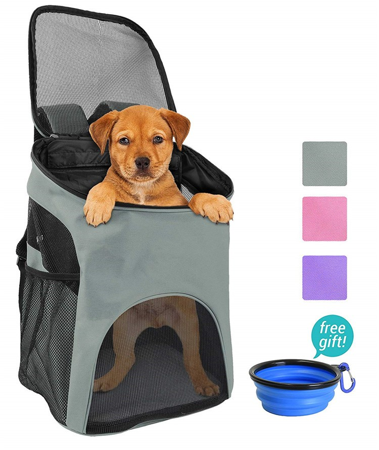 Custom Cute Travel Small Pet Bag Carrier Cat Dog Backpack Pet With A Dog Walk Hiking Cycling