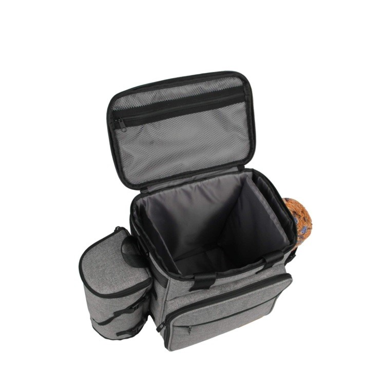 Eco-Friendly Best Storage snack Food Toy Accessories kit luggage Small Pet bags Backpack Tote Cat Dog Travel Bag With Bowl