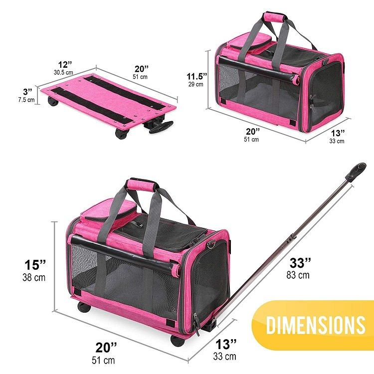 Airline Approved Tote Luggage Soft Sided Pink Cat Dog Pet Carrier With Detachable Wheels For Small And Medium Dogs Cats