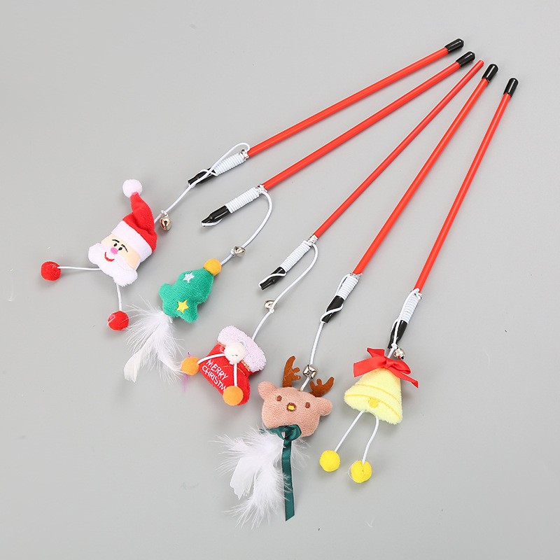 Soft Teaser Plush Cat Toy Stick Set Wand Pet Cat Toys  Interactive For Cat