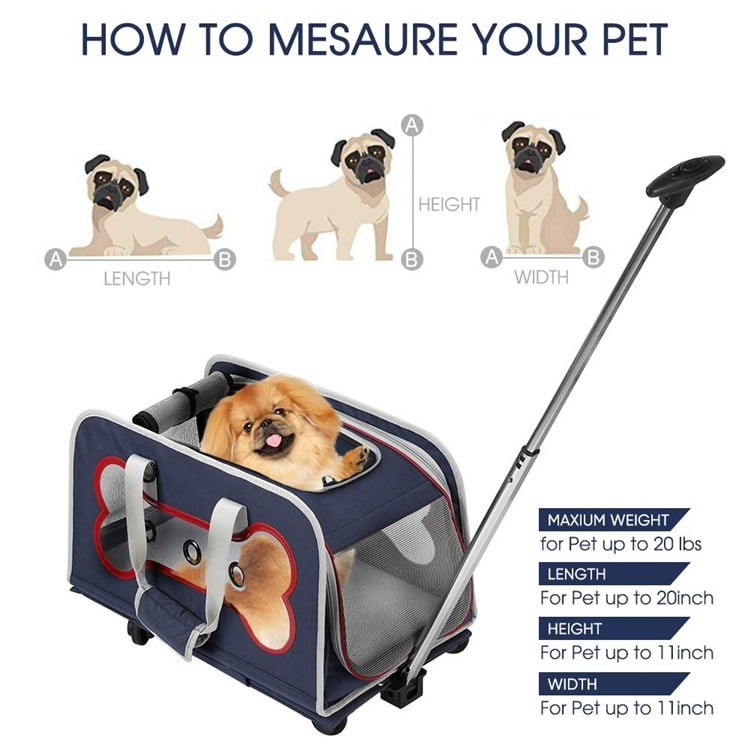 Airline Approved Hiking Large Rolling Stroller Wheeled cat dog Pet Trolley Carrier With Wheels For Large Dogs